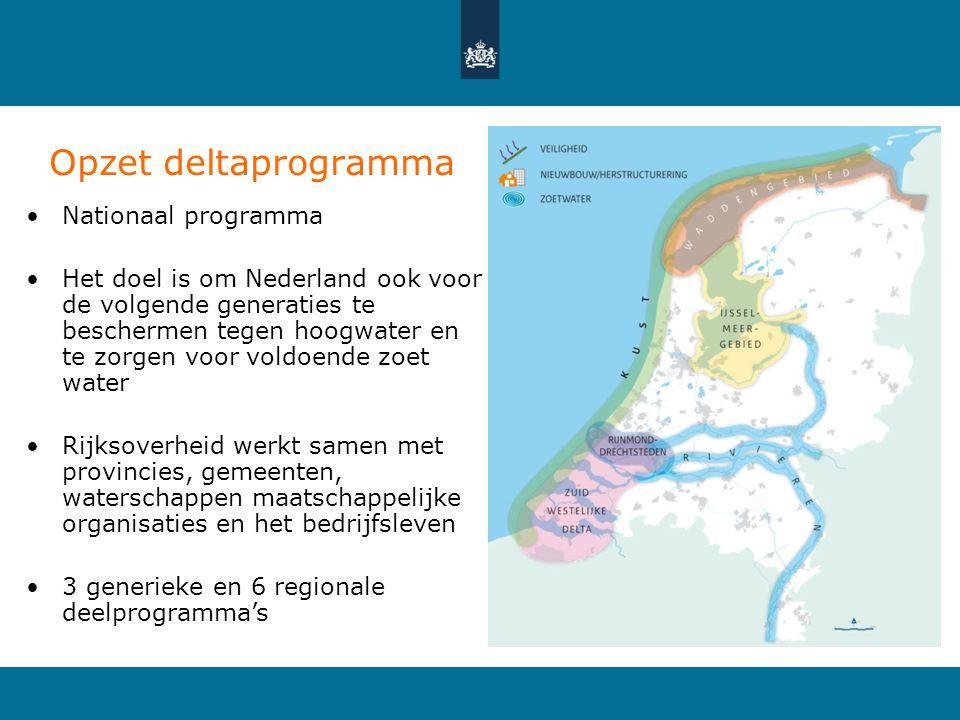Opzet deltaprogramma Nationaal programma