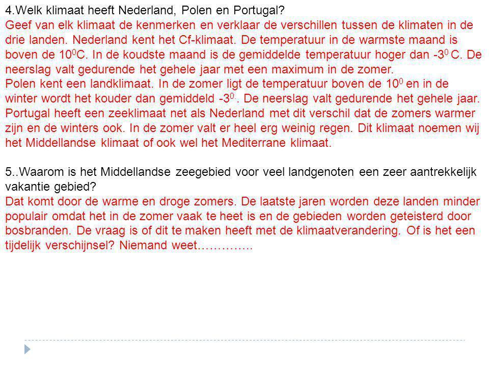 4.Welk klimaat heeft Nederland, Polen en Portugal