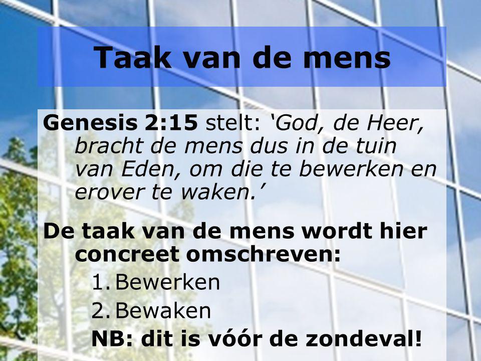 Taak van de mens Genesis 2:15 stelt: 'God, de Heer, bracht de mens dus in de tuin van Eden, om die te bewerken en erover te waken.'