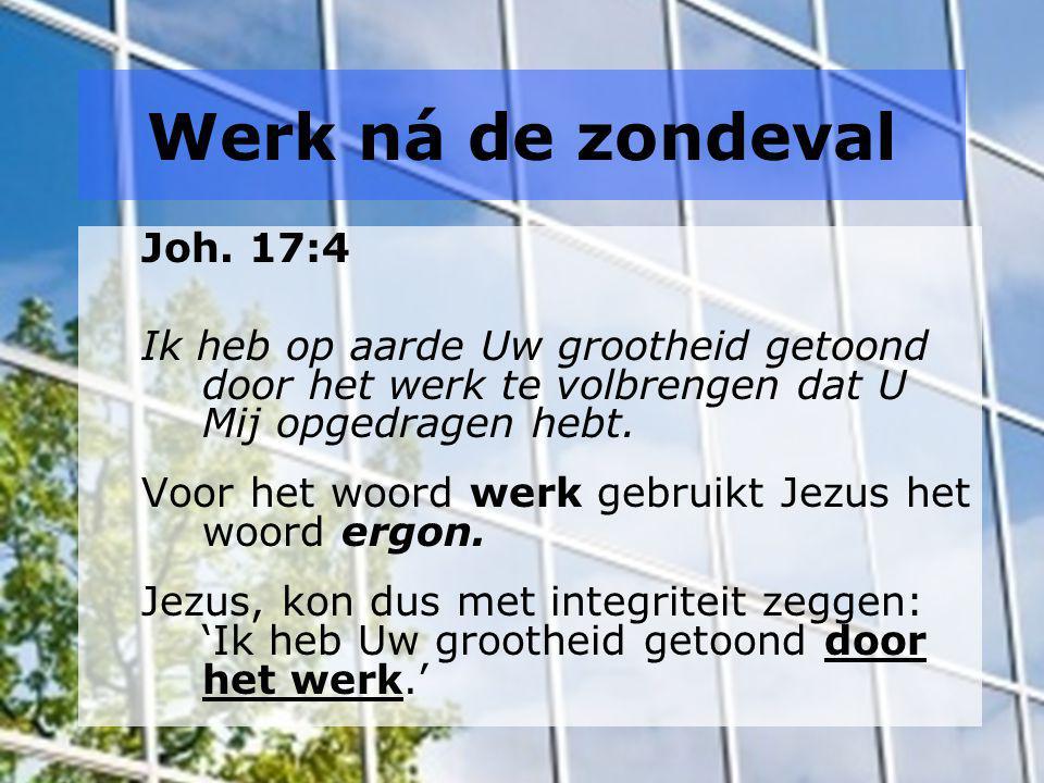 Werk ná de zondeval Joh. 17:4