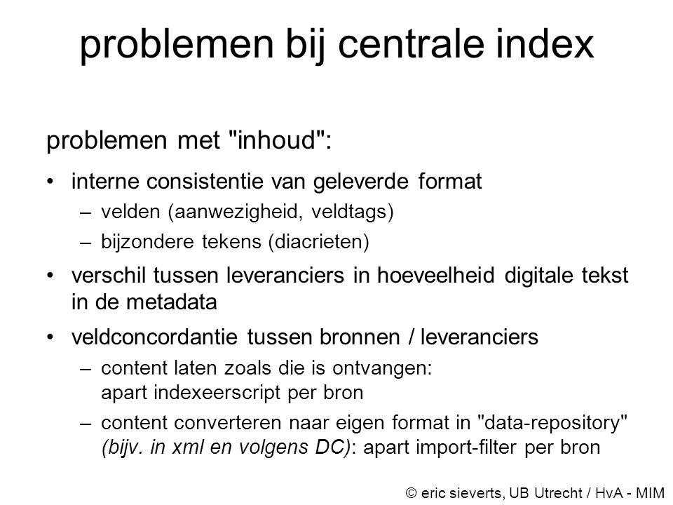 problemen bij centrale index