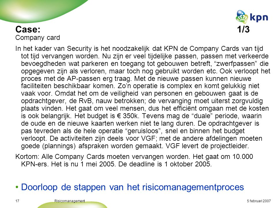 Case: Risico Issue Kans Company card