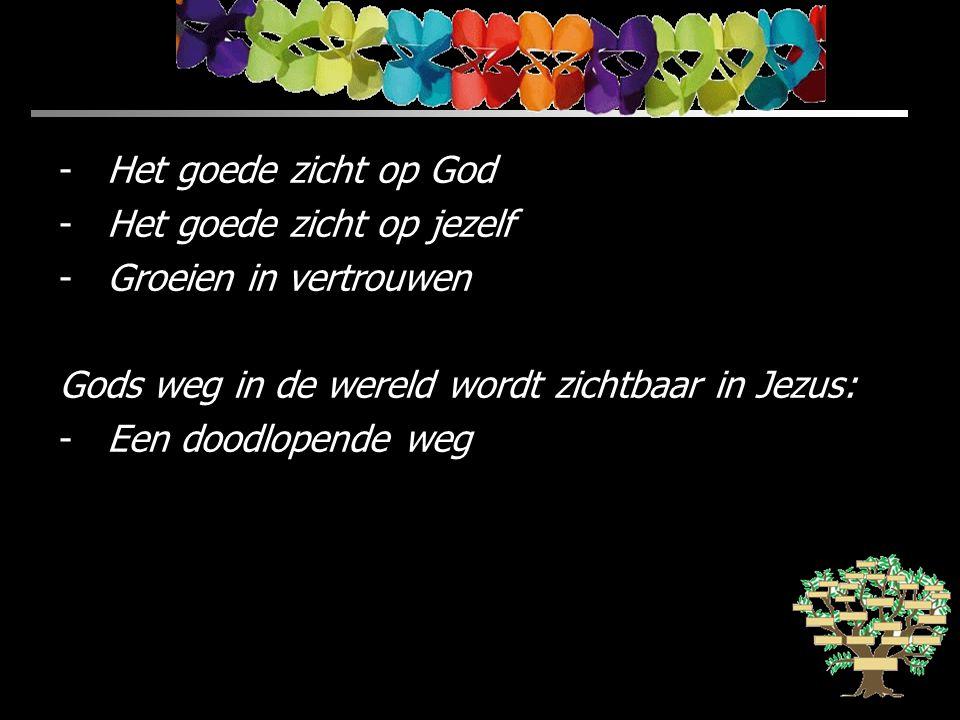 Het goede zicht op God Het goede zicht op jezelf. Groeien in vertrouwen. Gods weg in de wereld wordt zichtbaar in Jezus: