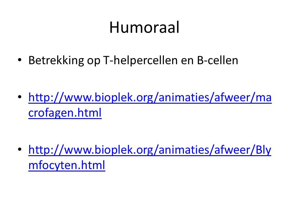 Humoraal Betrekking op T-helpercellen en B-cellen