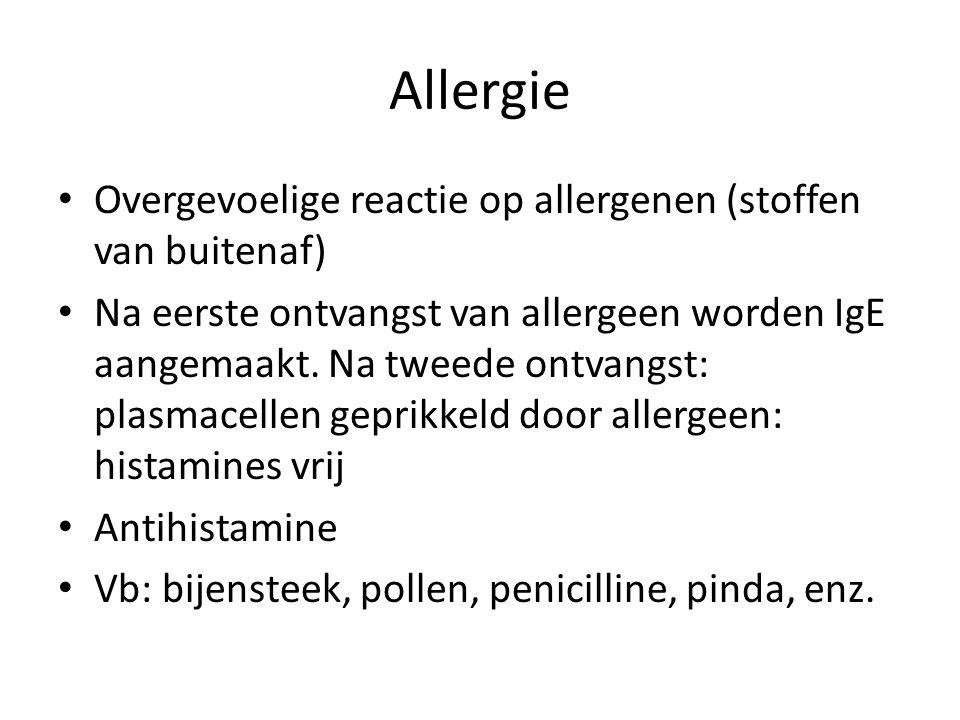 Allergie Overgevoelige reactie op allergenen (stoffen van buitenaf)
