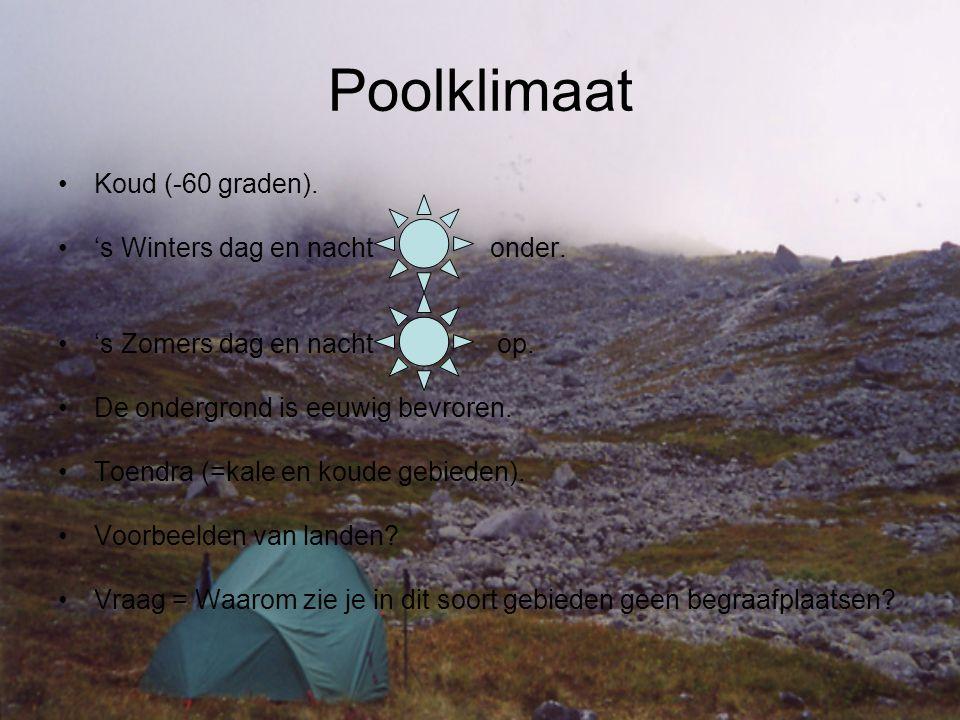 Poolklimaat Koud (-60 graden). 's Winters dag en nacht onder.