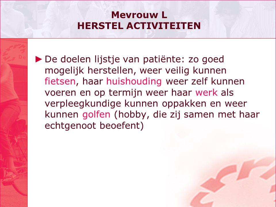 Mevrouw L HERSTEL ACTIVITEITEN