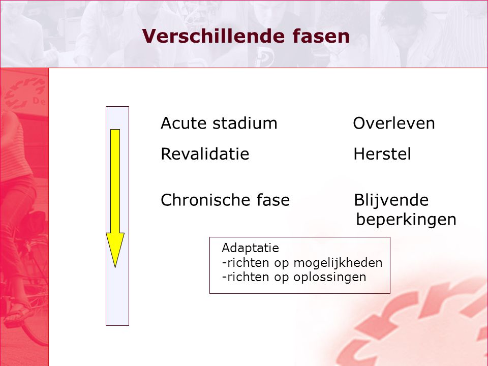 Verschillende fasen Acute stadium Overleven Revalidatie Herstel