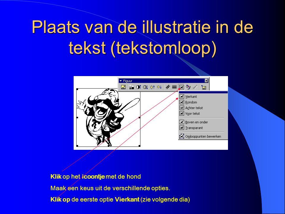 Plaats van de illustratie in de tekst (tekstomloop)