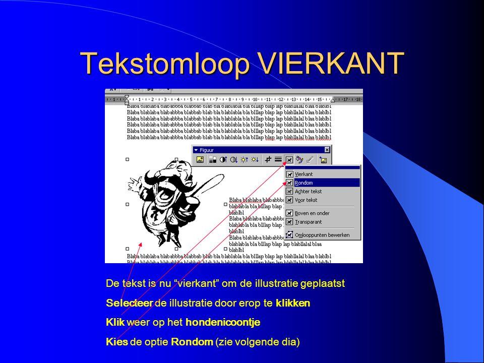 Tekstomloop VIERKANT De tekst is nu vierkant om de illustratie geplaatst. Selecteer de illustratie door erop te klikken.