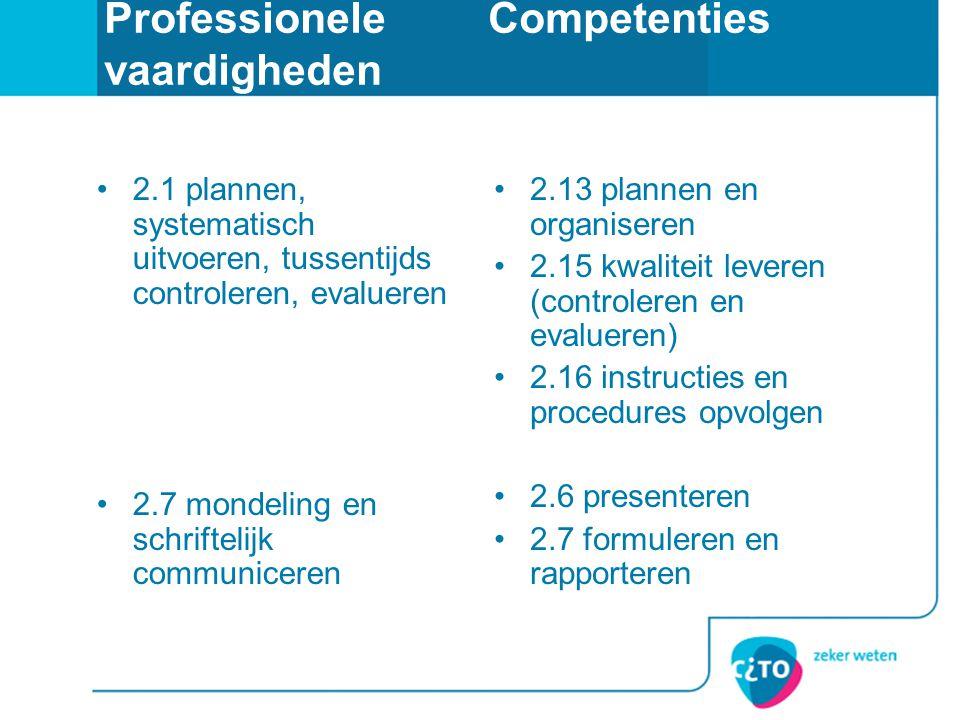 Professionele Competenties vaardigheden