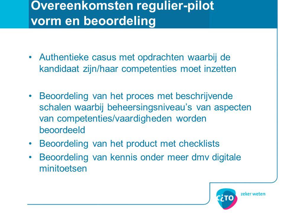 Overeenkomsten regulier-pilot vorm en beoordeling