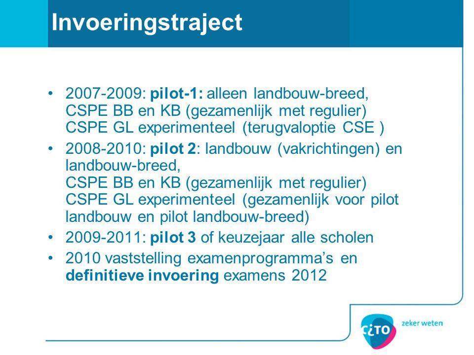 Invoeringstraject 2007-2009: pilot-1: alleen landbouw-breed, CSPE BB en KB (gezamenlijk met regulier) CSPE GL experimenteel (terugvaloptie CSE )