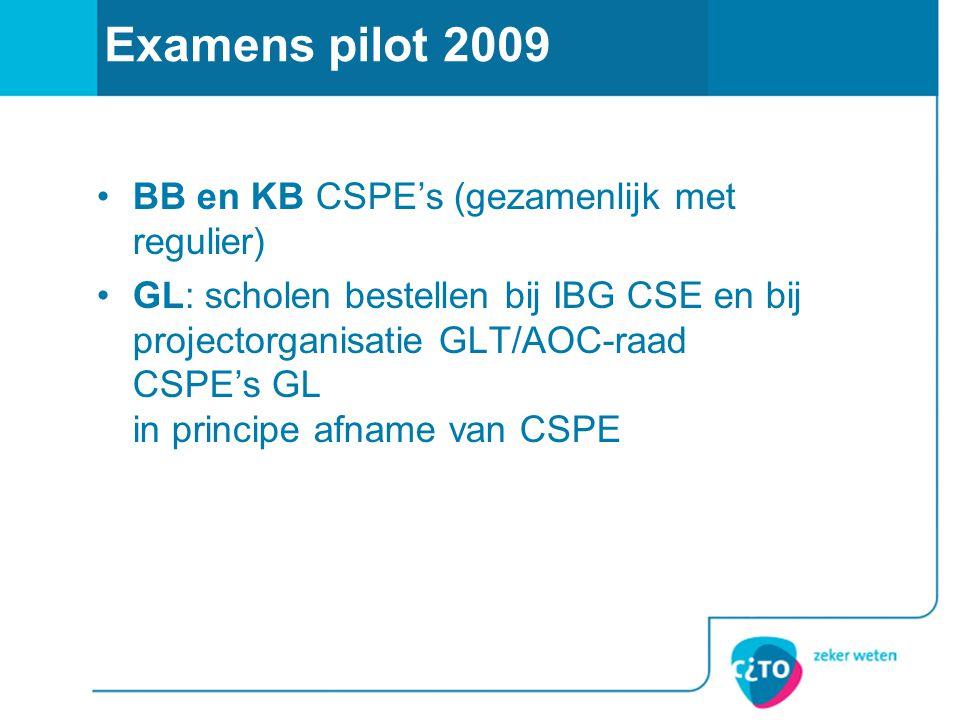 Examens pilot 2009 BB en KB CSPE's (gezamenlijk met regulier)