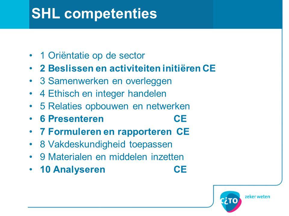 SHL competenties 1 Oriëntatie op de sector