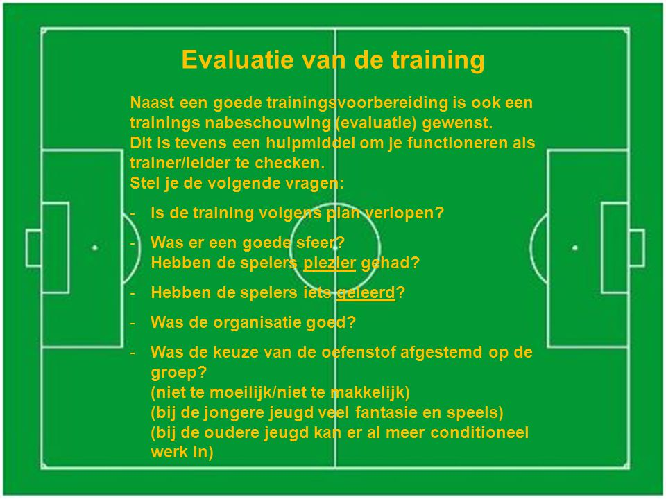 Evaluatie van de training