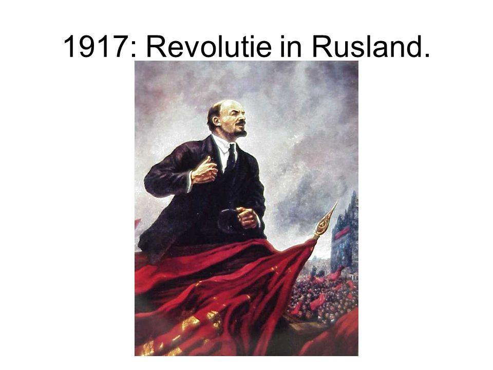 1917: Revolutie in Rusland. Tsaar Nicholas II wordt met zijn gezin geëxecuteerd.
