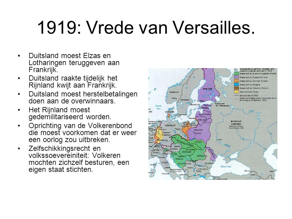 1919: Vrede van Versailles. Duitsland moest Elzas en Lotharingen teruggeven aan Frankrijk.