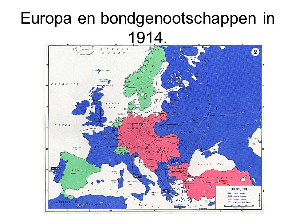 Europa en bondgenootschappen in 1914.