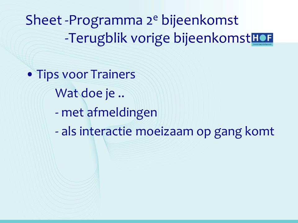 Sheet -Programma 2e bijeenkomst -Terugblik vorige bijeenkomst