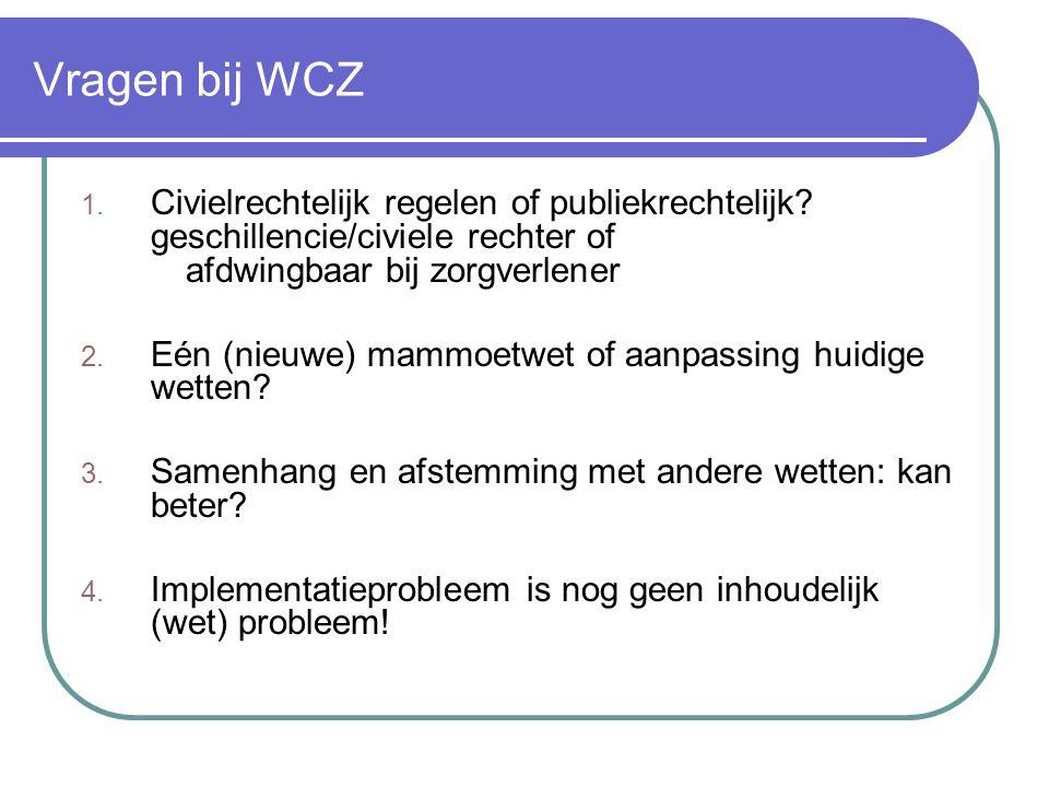 Vragen bij WCZ Civielrechtelijk regelen of publiekrechtelijk geschillencie/civiele rechter of afdwingbaar bij zorgverlener.