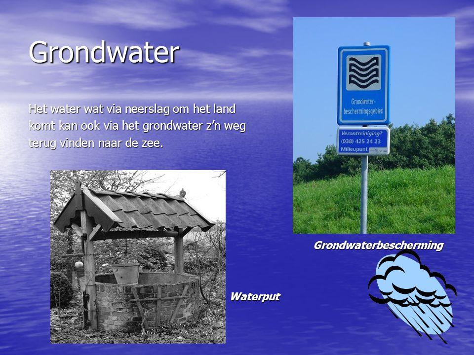Grondwater Het water wat via neerslag om het land