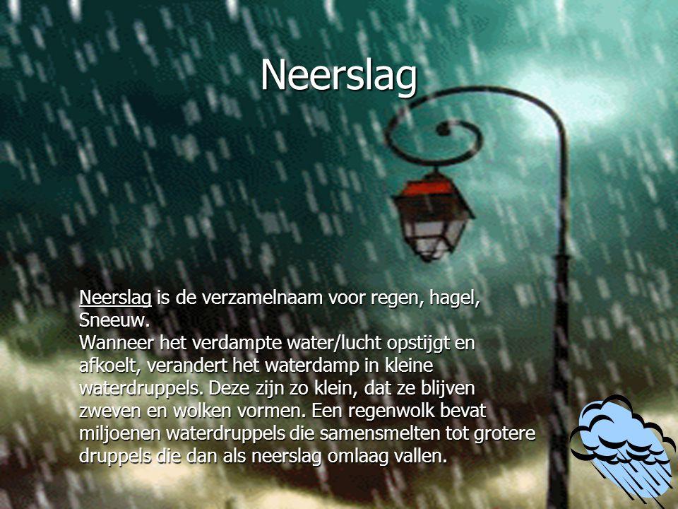 Neerslag Neerslag is de verzamelnaam voor regen, hagel, Sneeuw.