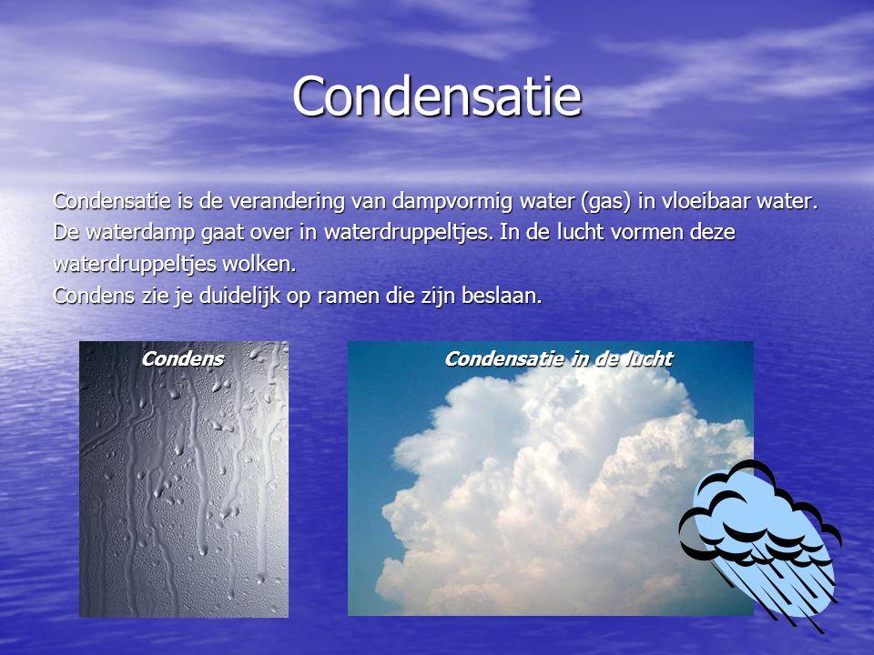 Condensatie Condensatie is de verandering van dampvormig water (gas) in vloeibaar water.