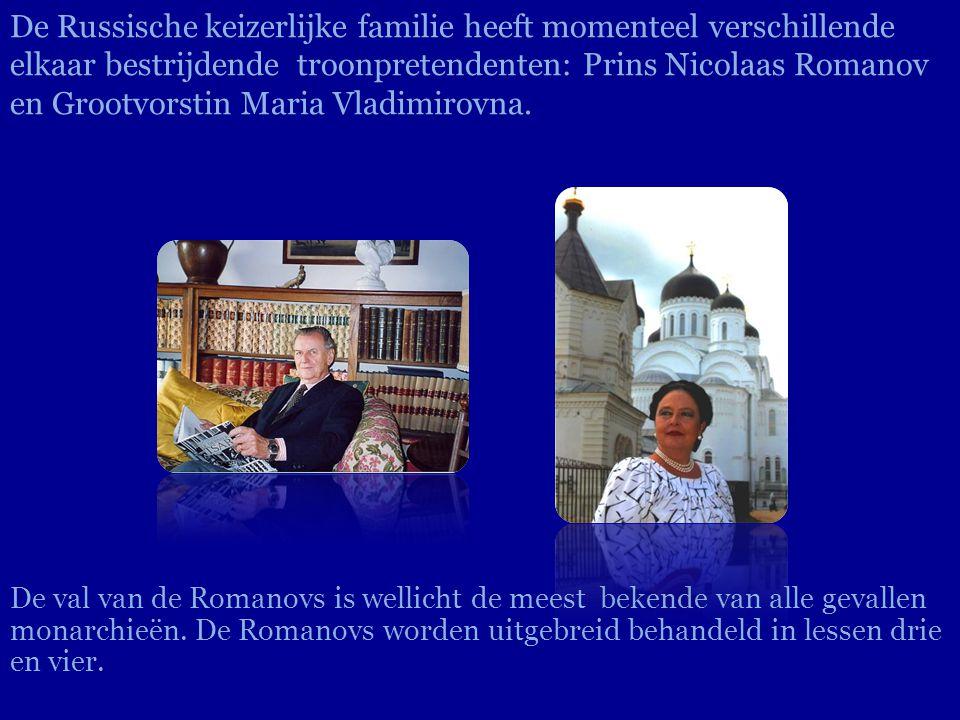 De Russische keizerlijke familie heeft momenteel verschillende elkaar bestrijdende troonpretendenten: Prins Nicolaas Romanov en Grootvorstin Maria Vladimirovna.