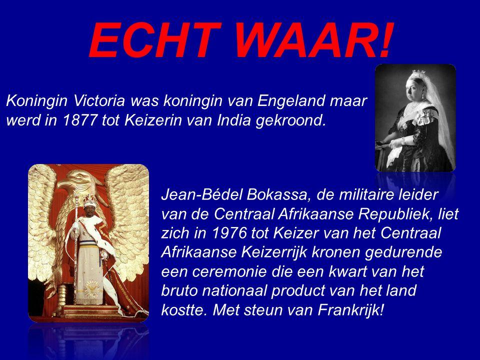 ECHT WAAR! Koningin Victoria was koningin van Engeland maar werd in 1877 tot Keizerin van India gekroond.