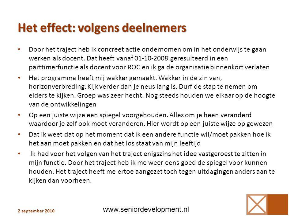 Het effect: volgens deelnemers