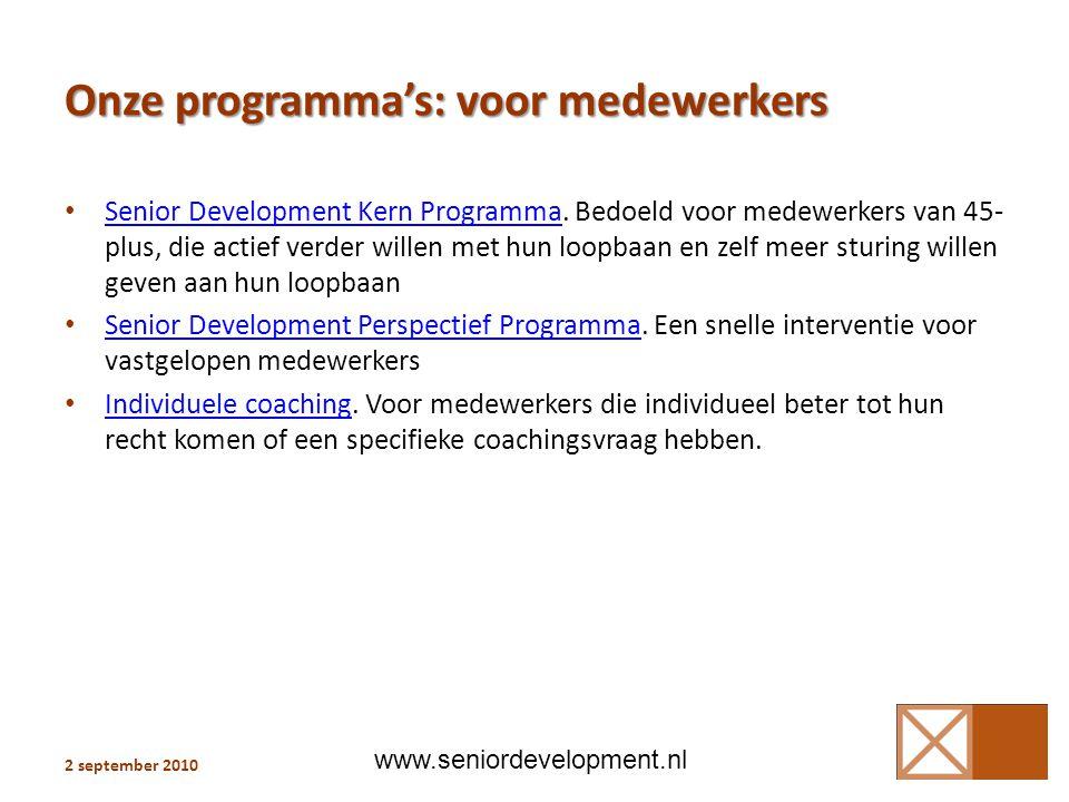 Onze programma's: voor medewerkers