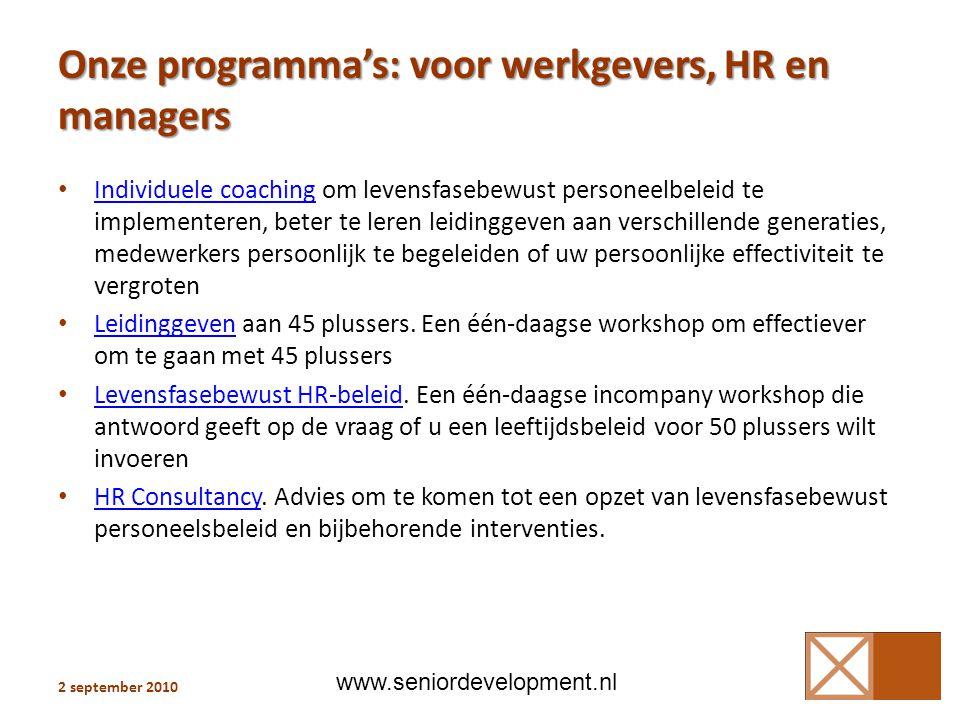 Onze programma's: voor werkgevers, HR en managers