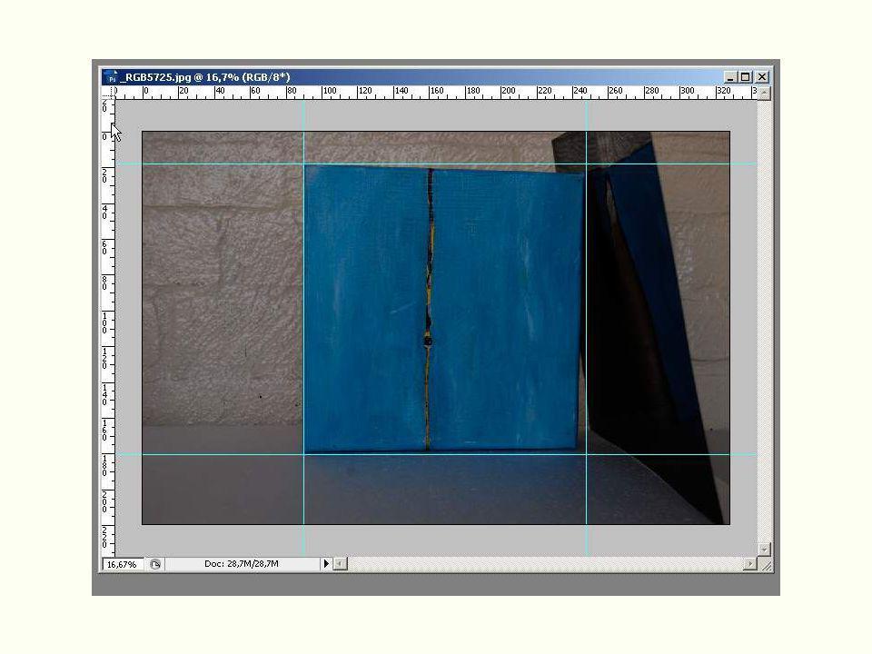 Trek nu lijnen naar het vrij te maken object vanuit de lineaalen boven en links