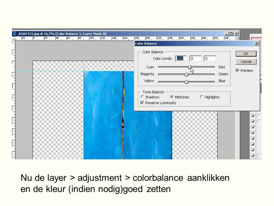 Nu de layer > adjustment > colorbalance aanklikken