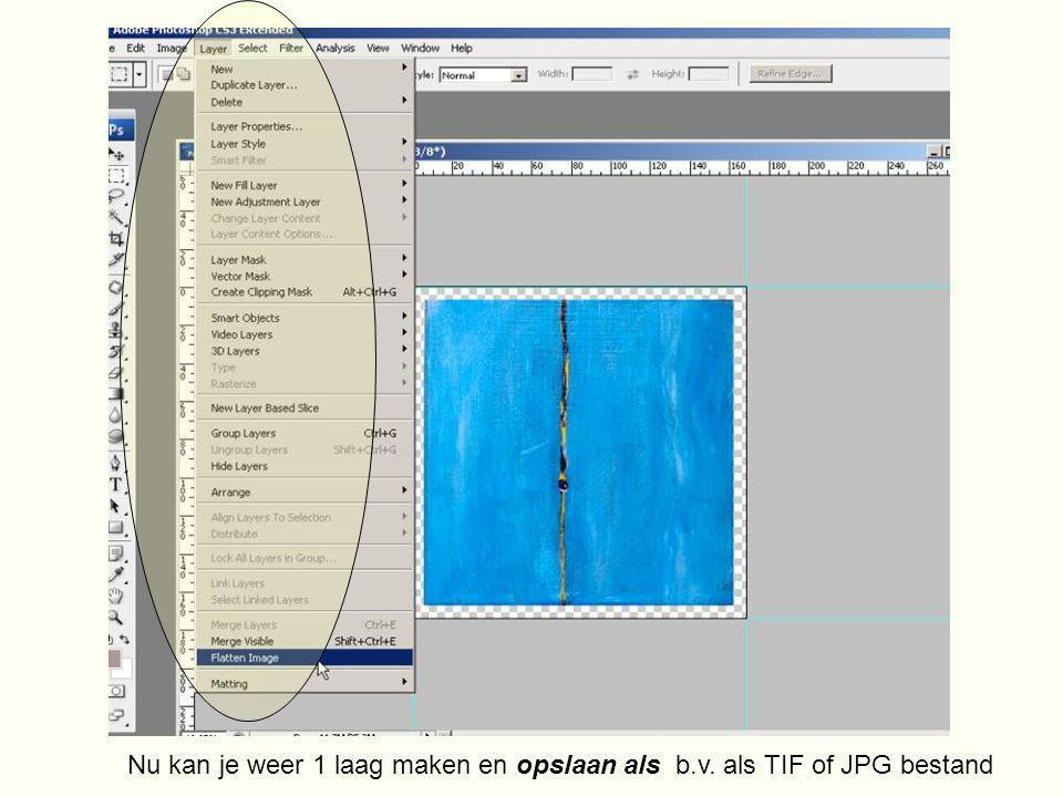 Nu kan je weer 1 laag maken en opslaan als b.v. als TIF of JPG bestand