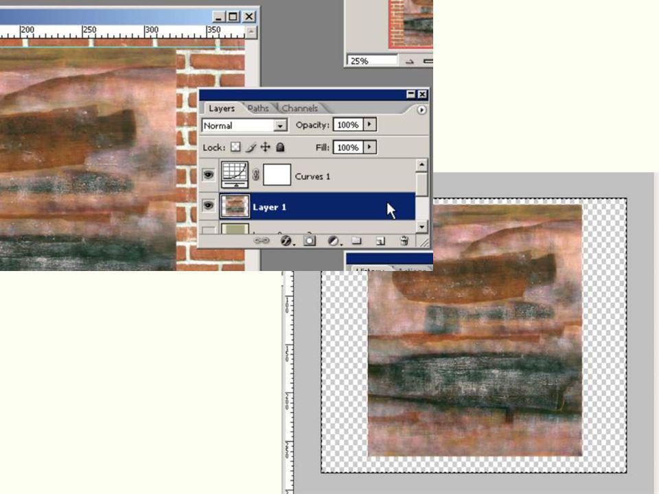 Selecteer alles op deze nieuwe laag en druk op Deletetoets, het beeld is nu weg