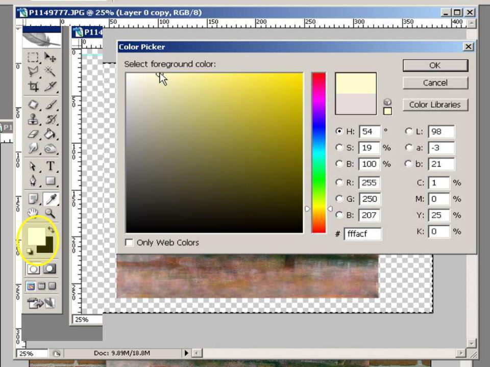 Ga op de lege laag staan Klik nu onderin werktool menu op voorgrond kleur en kies een kleur welke je wilt gebruiken voor de achtergrond.