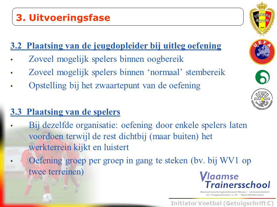 3. Uitvoeringsfase 3.2 Plaatsing van de jeugdopleider bij uitleg oefening. Zoveel mogelijk spelers binnen oogbereik.