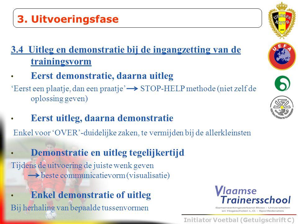3.4 Uitleg en demonstratie bij de ingangzetting van de trainingsvorm