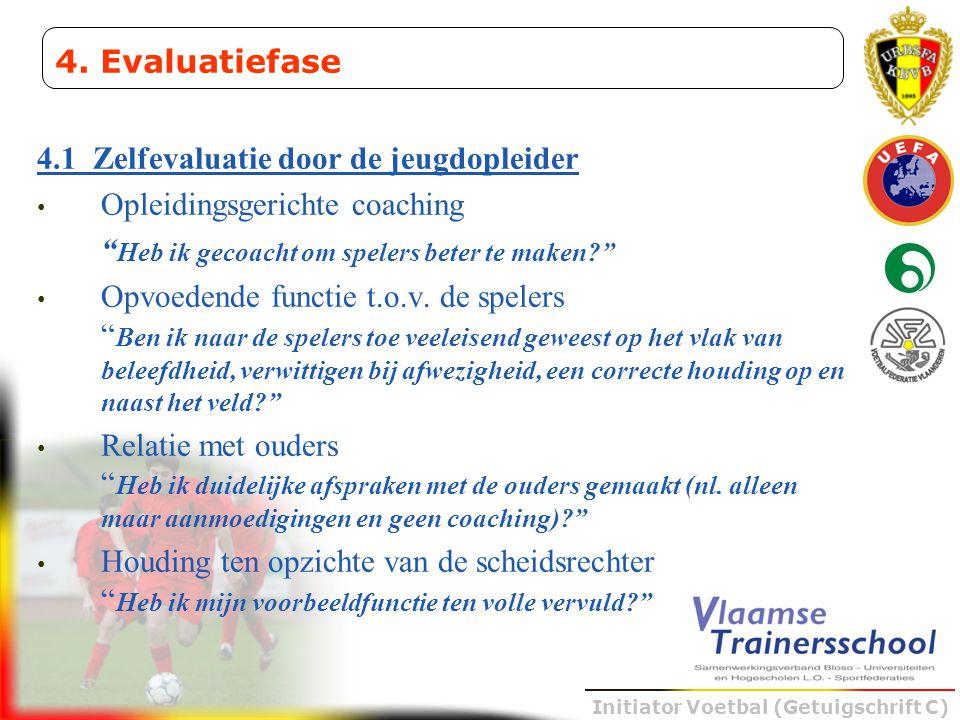 4. Evaluatiefase 4.1 Zelfevaluatie door de jeugdopleider. Opleidingsgerichte coaching. Heb ik gecoacht om spelers beter te maken