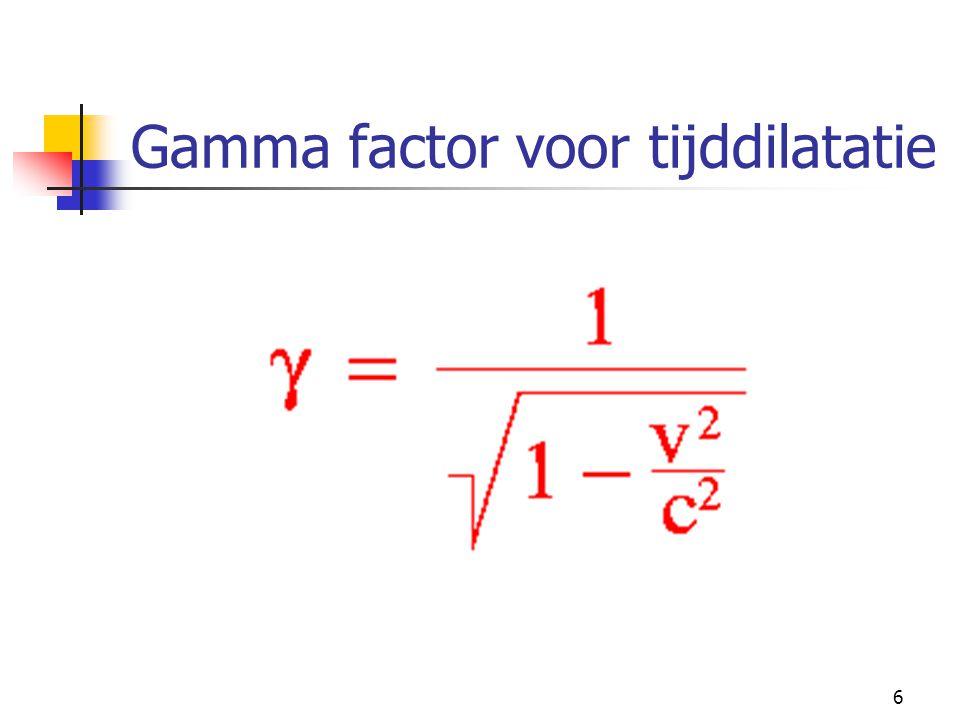 Gamma factor voor tijddilatatie