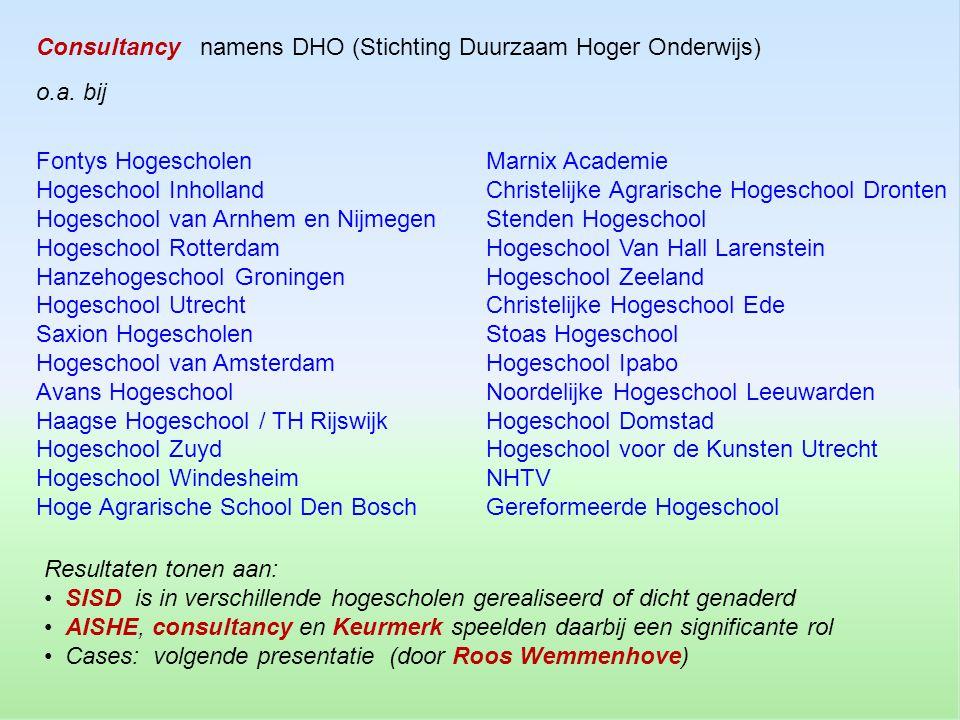 Consultancy namens DHO (Stichting Duurzaam Hoger Onderwijs)