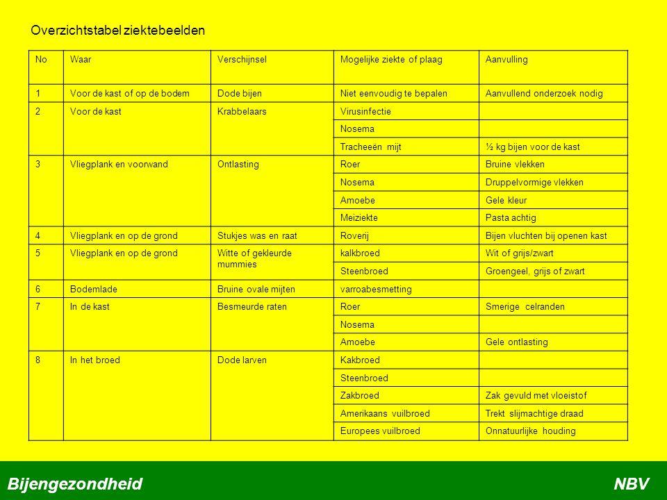 Bijengezondheid NBV Overzichtstabel ziektebeelden No Waar Verschijnsel