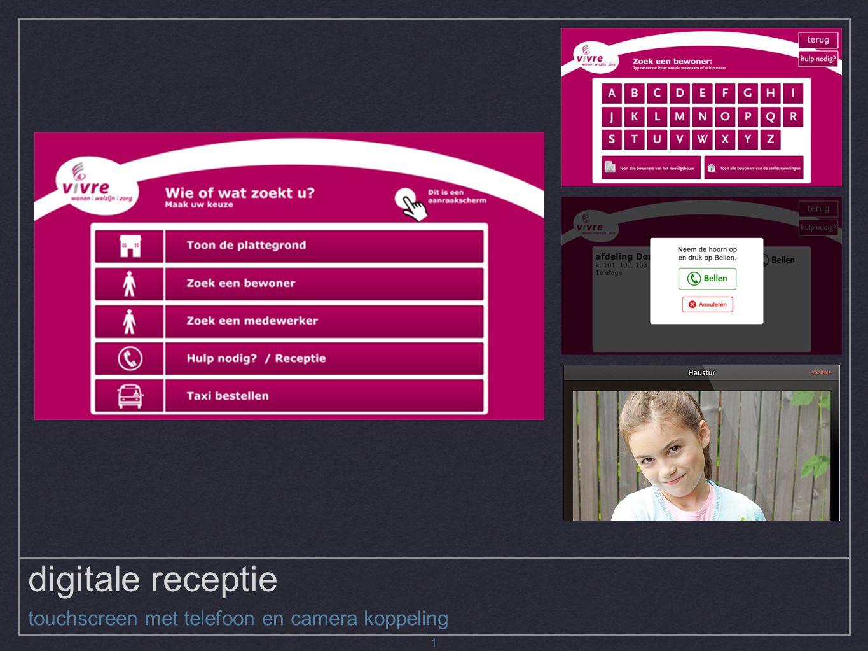 digitale receptie touchscreen met telefoon en camera koppeling