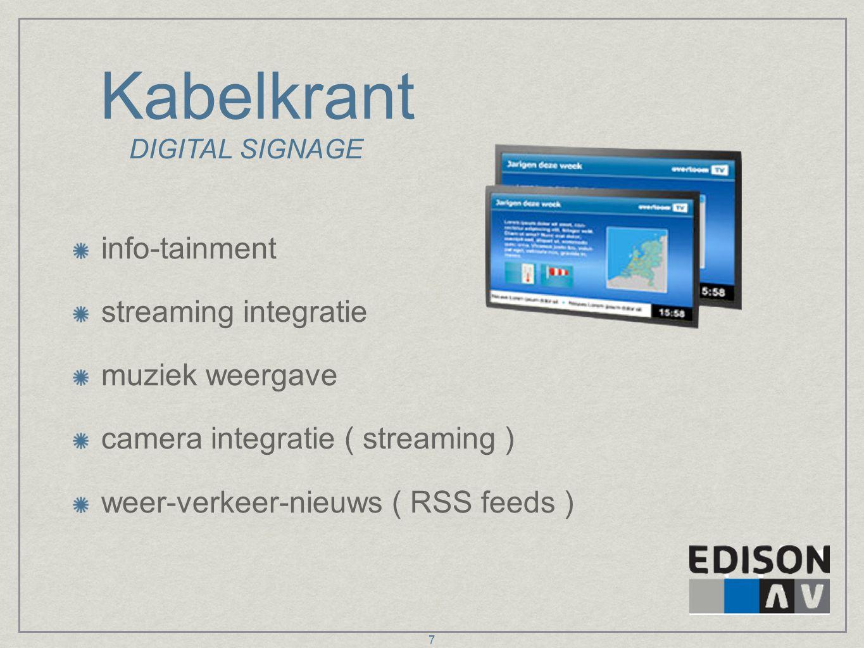 Kabelkrant info-tainment streaming integratie muziek weergave