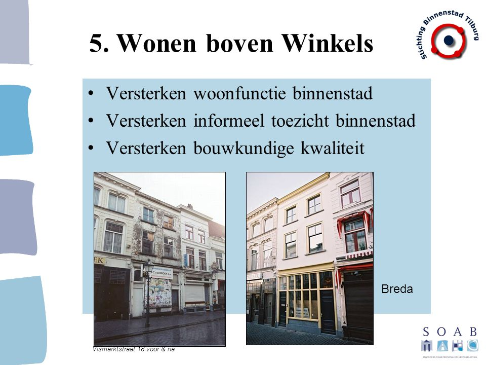 5. Wonen boven Winkels Versterken woonfunctie binnenstad