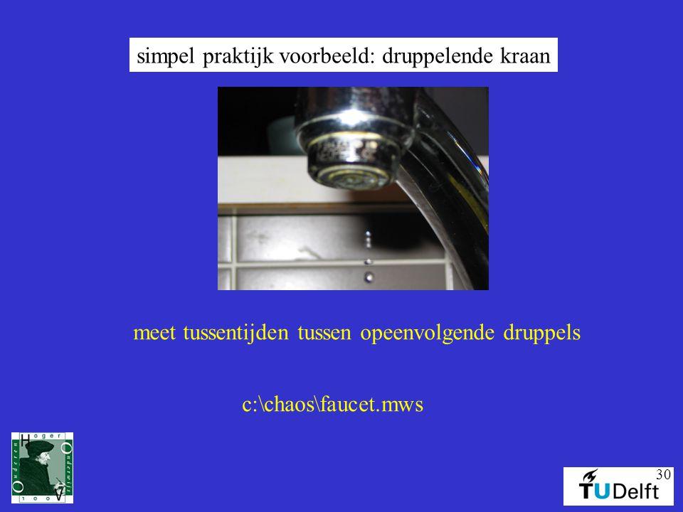simpel praktijk voorbeeld: druppelende kraan
