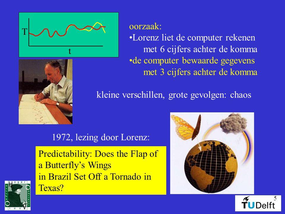 t T. oorzaak: Lorenz liet de computer rekenen. met 6 cijfers achter de komma. de computer bewaarde gegevens.