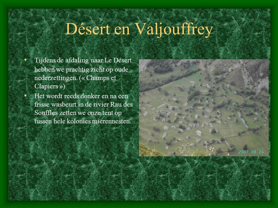 Désert en Valjouffrey Tijdens de afdaling naar Le Désert hebben we prachtig zicht op oude nederzettingen. (« Champs et Clapiers »)